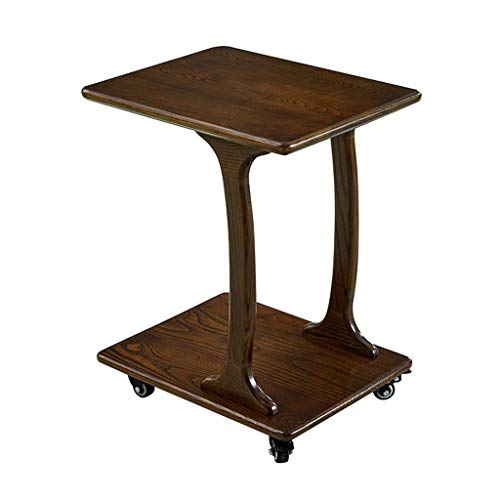 SZQ-Table Basse Table d'appoint en Bois Massif, avec roulettes Double Couche Bureau Accueil Chambre à Coucher Table de Lecture Balcon décoratif Jardinière Table de Sofa