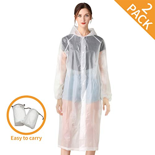 """Rain Ponchos for Adults - 2 Pack Emergency Rain Poncho for Hiking Travel Safety Protection, Waterproof Rain Coats for Women and Men with Drawstring Hood, Size 46.85"""" x 38.11"""""""