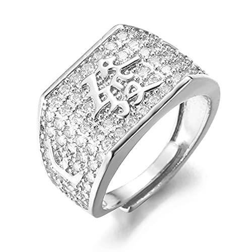 Halukakah ● Oro Bendiga Todo ● Hombres Anillo Chapado en Oro Blanco Platino con Diamantes Kanji Rico Tamaño Ajustable con Caja
