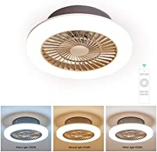 Ceiling Fan with Light and Remote Control, Fan with 36W LED lamp, Setting The Wind Speed and 3 Light Colors, with Fan Wind...