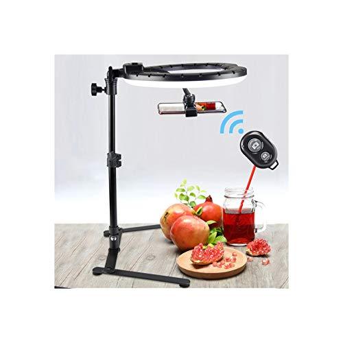 LORIEL Soporte de Anillo de Selfie, luz de Anillo de 26 cm con Soporte de trípode Extensible, Carga USB, Control Remoto, para Youtube disparando Tiktok