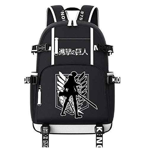 ZahngY Anime Bookbag Laptop Schultasche mit USB-Ladeanschluss Oxford Cloth Attack on Titan