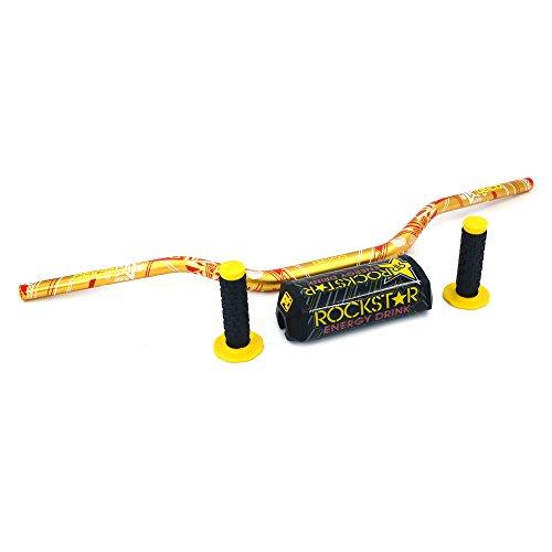 "JFG RACING Yellow Motorcycle 1 1/8"" 28mm Handlebar Fat Handle Bar Pad Grips Set For Dirt Bike Suzuki RM250 RMZ250 DRZ400 RMZ450"