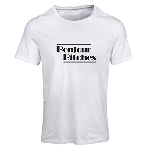 lepni.me N4316F Camiseta Mujer Bonjour Bitches (Medium Blanco Negro)