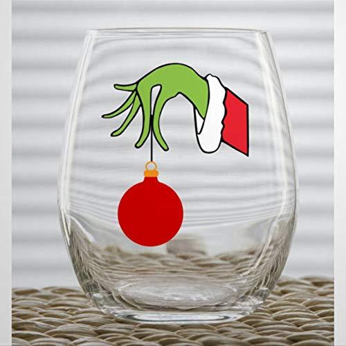 Adorno de Navidad divertido copa de vino sin tallo, vidrio de whisky personalizado personalizado vaso de chupito, 445 ml