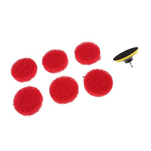 LOVIVER Power Scrub Brush Taladro Cepillo para Baño Kit de Cepillo de Ducha con 6 Almohadillas Rojas