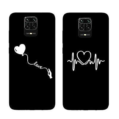 DiaryTown para 2 Pack Negro Funda Xiaomi Redmi Note 9 Pro/Note 9S Silicona Blando, Carcasa Redmi Note 9 Pro Funda Resistente Dibujos Gracioso Cover Fina Antigolpes Case, Globo de Amor