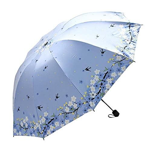 JHBFZXX Sombrilla plegable resistente a la lluvia y al viento para exteriores, resistente y duradera Novia simple paraguas vintage-Primavera rama completa - azul