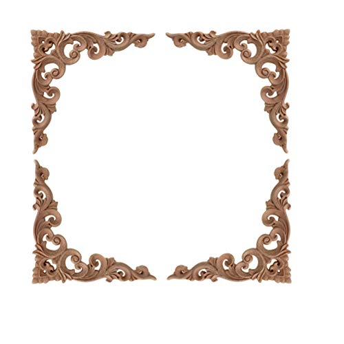4 Stück, Massivholz, geschnitzt, Ecke, Möbel, Dekoration für Zuhause, ohne Lackierung, 10 x 10 cm