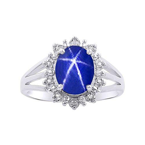 Anillo de plata de ley 925 inspirado en la princesa Diana con diamantes de Halo y estrella azul