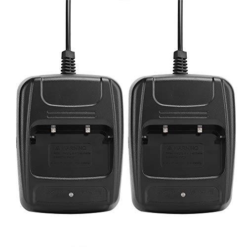 Base de Carga USB Negra ABS, 2 Piezas de interfono Walkie Talkie para Baofeng BF666S / BF777S / BF888S Cargador Doble USB Cargador de batería de Iones de Litio con indicador de Carga