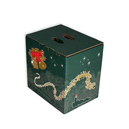 Pack 20 Cajas para lote navideño. Capacidad 9 botellas +Lote. Caja de Canal Doble con asa. Medidas exteriores 355 X 265 X 360 mm.