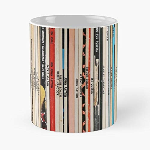 Blue Note Vinyl Collection – Taza de café de cerámica de mármol blanco