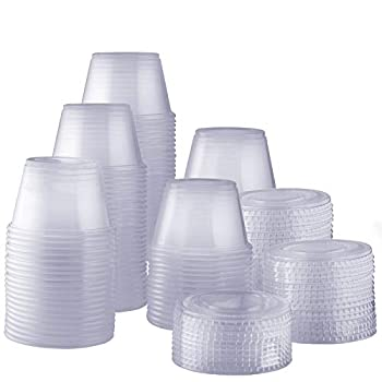 [200 Sets - 4 oz.] Plastic Disposable Portion Cups with Lids Souffle Cups Jello Cups