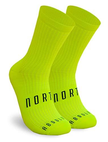 NORTEI Calcetines Amarillo Flúor para Ciclismo, MTB y Running de Caña Alta para Hombre y Mujer – Absolute Yellow (S-M (38-42))