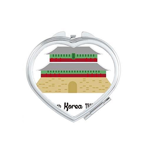 DIYthinker Corée du Sud célèbre Voyage Coeur Maquillage Compact Miroir de Poche Miroirs Mignon Petit Cadeau Portable à la Main Multicolor