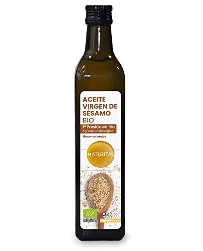 Naturitas Aceite de Sésamo de primera presión en frío Bio | 500ml | Propiedades beneficiosas para la salud | Cultivo ecológico | Sin conservantes