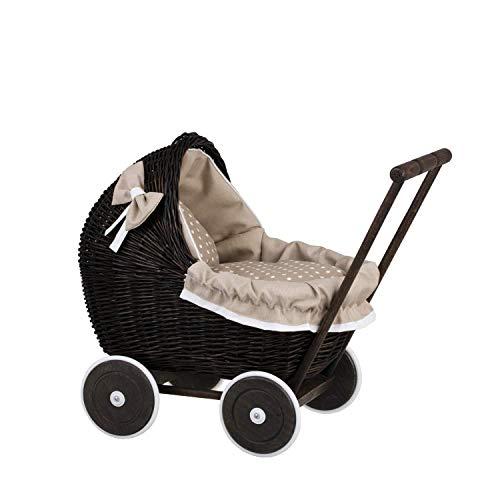 e-wicker24 Puppenwagen aus Weide, Spielzeug aus Weide, Korbpuppenwagen, Weidenwagen
