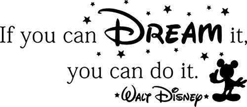 Disney Wall Decal Quote If You Can Dream It You Can Do It Walt Disney Mickey Mouse Home Bedroom Vinyl Sticker Cartoons Movie Lettering Boy Baby Kids Wall Art Nursery Decor Mural 177crt
