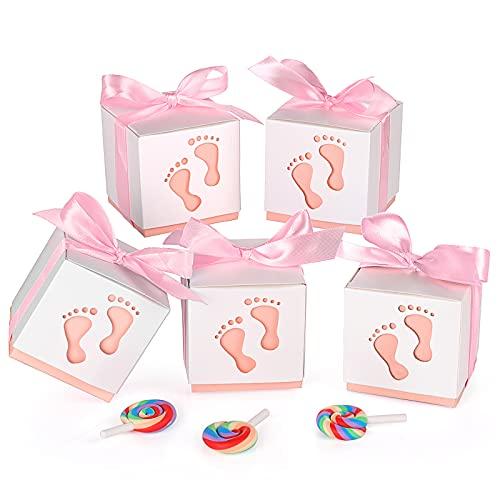 Geschenkbox, XiYee 50 Stück Süßigkeit Kästen Gastgeschenk Box, Boxen für Süßigkeiten mit Band für Neugeborene Babydusche, Pralinenschachtel für Kinder Geburtstag, Hochzeit, Taufe Geburt Party