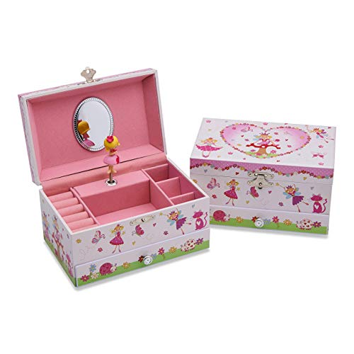 Lucy Locket Enchanted Fairy Musical Jewelry Box for Children - Glittery Kids Music Box with Ring Holder