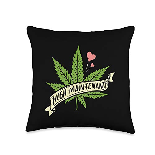 Weed Pillows Cannabis Marijuana 420 Pot-head Gifts High Maintenance Weed Cannabis Pocket 420 THC Stoner Gift Throw Pillow, 16x16, Multicolor