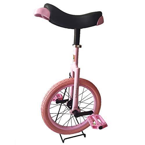 """Einrad Rosa Einrad für Kinder Mädchen, 16\""""Single Wheel Balance Cycling Einräder, Starter Kind Alter 4/5/6/7/8/9/10/11 Jahre Alt, Rutschfester Reifen"""