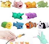 10Pcs Cute Charger/Data Cable Protector for iPhone iPad Charger, Plastic Cartoon Animal Cover, USB Charging Cable Saver, Phone Cord Anti-Breaking Accessory - ''TAKE A BITE