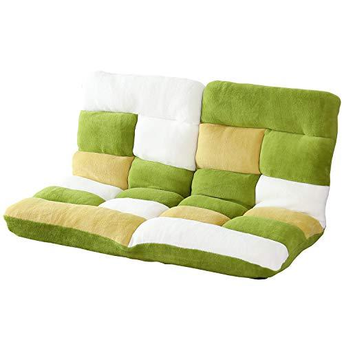 DORIS 座椅子 2人掛け ローソファ フロアソファ 左右独立リクライニング 奥行調整可能な2箇所の14段階ギア搭載 ふっくらサンゴマイヤー生地 パッチワークグリーン ピオンセ