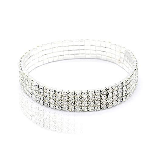 WEIYYY Tobilleras elásticas de Diamantes de imitación de Cristal Brillante para Mujer, Pulsera de Tobillo en la Pierna, Tobillera en Capas, joyería de pie, 4 Filas