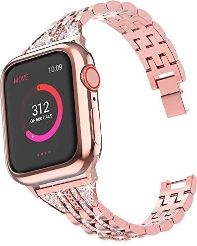 SUNEVEN - Cinturino di ricambio per Apple Watch 38/40/42/44 mm, con strass, in metallo, per braccialetti iWatch serie 5/4/3/2/1, Rosa, 42mm/44mm