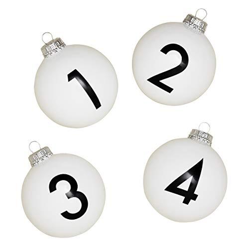 corpus delicti :: Design-Christbaumschmuck (4er Set) aus Glas mit den Zahlen 1-4 für den Adventskranz und Weihnachtsbaum/Weihnachtskugeln Numbers