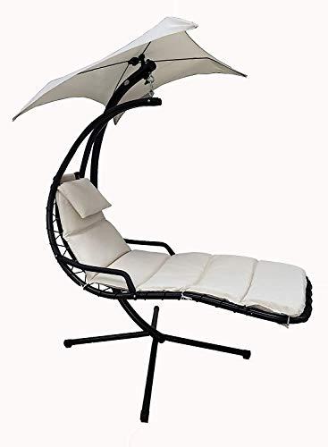 MLI Amaca Sospesa Extra Relax da Giardino in Metallo con tettuccio e Cuscino Beige Poltrona Sdraio Relax Chaise Lounge Lettino Prendisole