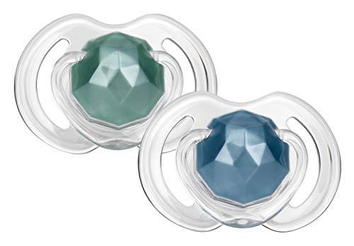 Nuby - 2 Little Gems Schnuller- Kleine Glanzstücke - 6-36m, blau