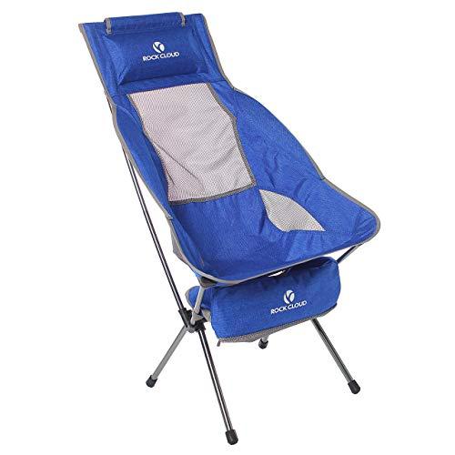 RockCloudアウトドアチェア折りたたみ特大メッシュ付き高さ調節可能 超軽量ハイバックコンパクトイス椅子【耐荷重120kg】お釣り登山携帯便利収納袋付 (ハイバックチェア)