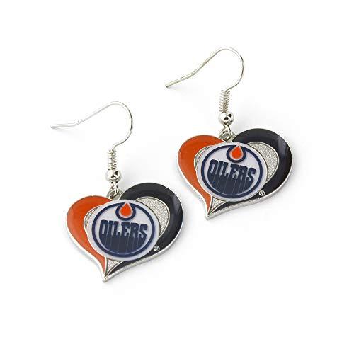 aminco NHL Boston Bruins - Pendientes de corazón, Mujer Unisex adulto Infantil Hombre, NHL Edmonton Oilers - Pendientes con forma de corazón, NHL-ER-245-16, Multicolor, Size 2.5