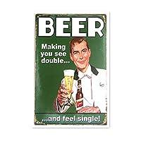 Beer Double Feel メタルポスター壁画ショップ看板ショップ看板表示板金属板ブリキ看板情報防水装飾レストラン日本食料品店カフェ旅行用品誕生日新年クリスマスパーティーギフト