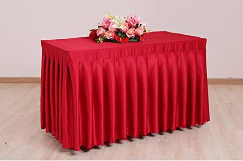 GBBD Tischdecken Konferenz Tischdecke Schreibtisch Schild Schreibtisch Schreibtisch Tischdecke Satin Schürze Rot Weiß Tischdecke Tisch Skirt Tischtuch (Farbe : A, größe : 13#)