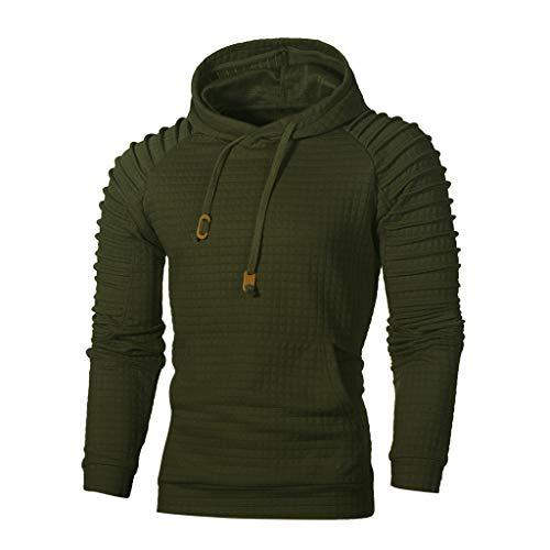 VECDY Herren Bluse,Räumungsverkauf-Men's Autumn Long Sleeve Plaid Hoodie Hooded Sweatshirt Top Tee Outwear Blouse Lässige, hübsche Kapuzenpullover (58, Grün)