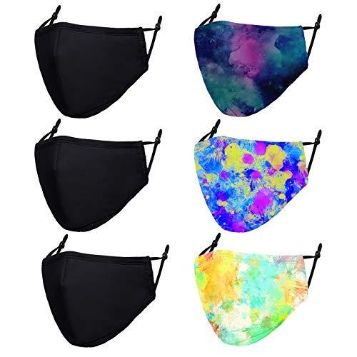 6 PCS Cloth Face Masks Washable Reusable - Adjustable Cotton Masks Printed Mask Unisex Adult for Women and Men - Tie Dye