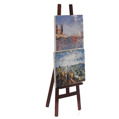TOOGOO(R) Decoracion de casa de munecas - Artistas de caballete 1:12 Caballete de artistas en miniatura de casa de munecas con 2 pinturas imagenes