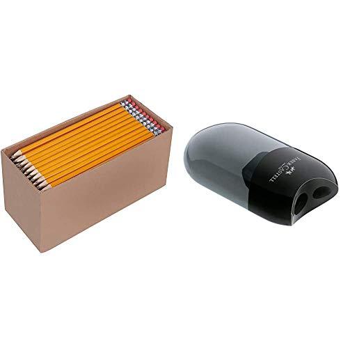 Amazon Basics - Holzgefasste Bleistifte, HB, vorgespitzt, 30er-Pack & Faber-Castell 183500 Doppelspitzdose, Gehäusefarbe: schwarz/transparent