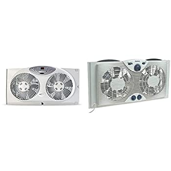 Bionaire Window Fan with Twin 8.5-Inch Reversible Airflow Blades and Remote Control White & Holmes Dual 8  Blade Twin Window Fan with Manual Controls 3 Speed Settings White