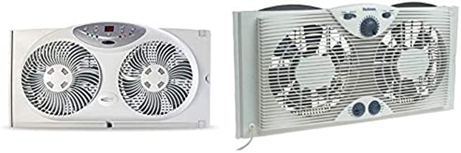 Bionaire Window Fan with Twin 8.5-Inch Reversible Airflow Blades and Remote Control, White & Holmes Dual 8