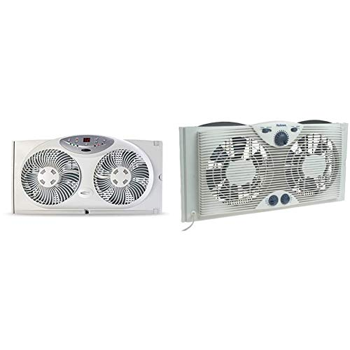 """Bionaire Window Fan with Twin 8.5-Inch Reversible Airflow Blades and Remote Control, White & Holmes Dual 8"""" Blade Twin Window Fan with Manual Controls, 3 Speed Settings, White"""