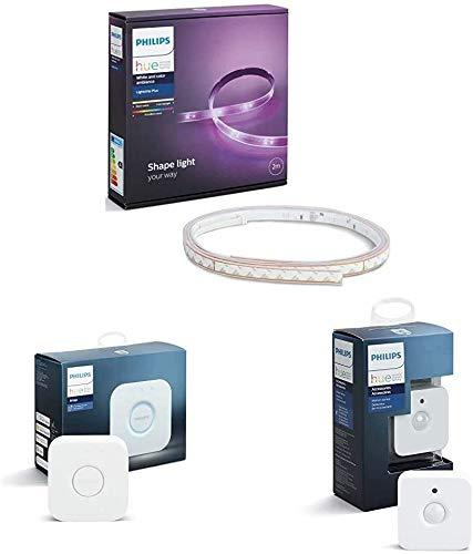 Philips Lighting Hue White and Color Lightstrip Plus Striscia LED 200 cm + Bridge 2.0 Controllo Sistema, senza Fili, Bianco + Sensore di Movimento, Batterie Incluse
