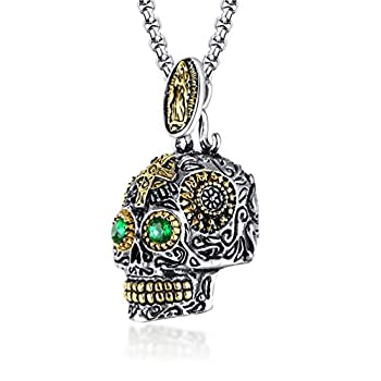 INRENG Stainless Steel Sugar Skull Pendant Necklace Gothic Skeleton Pendants for Men with 24inch Chain Silver Gold with Green Eye