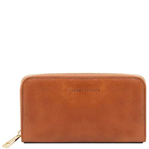 Tuscany Leather Esclusivo portafogli in pelle da donna con zip su 3 lati e soffietti Miele