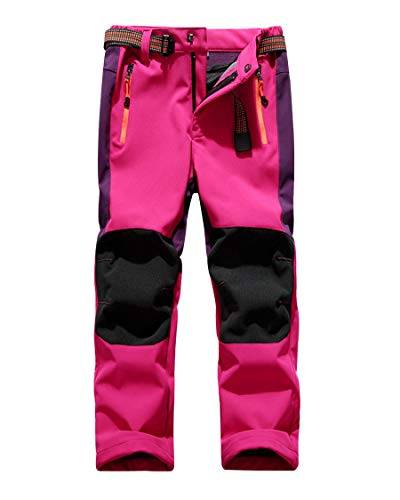 CAMLAKEE Pantalones Senderismo Niño Niña, Pantalon Softshell Impermeable Transpirable Pantalones Trekking Montaña Invierno, Rose, L