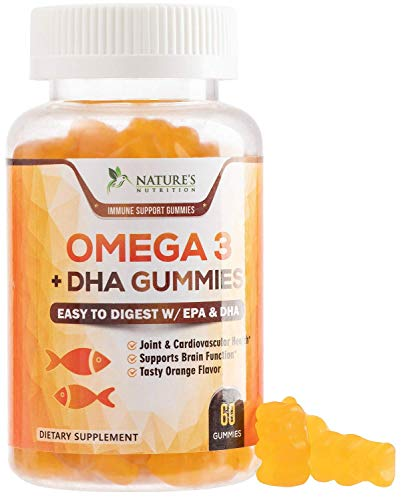 Omega 3 Fish Oil Gummies Extra Strength Dha & Epa - Natural Brain Support and Joints Support, Tasty Gummy Vitamin for Men & Women, Natural Orange Flavor - 60 Gummies